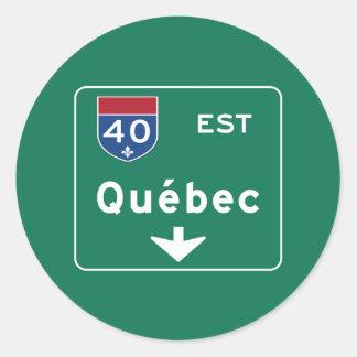 Quebec, Canada Road Sign Classic Round Sticker