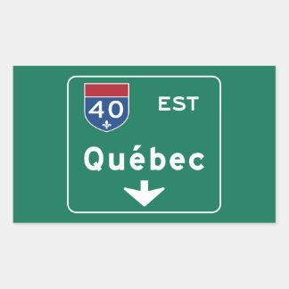 Quebec, Canada Road Sign Rectangular Sticker