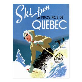 Quebec Canada Vintage Travel Poster Restored Postcard