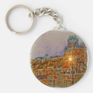 Quebec City Old Town by Shawna Mac Basic Round Button Keychain