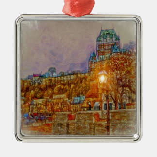 Quebec City Old Town by Shawna Mac Square Metal Christmas Ornament