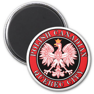 Quebec City Polish Canadian Eagle 2 Inch Round Magnet