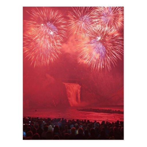 Quebec City, Quebec, Canada. Fireworks at Parc Postcard