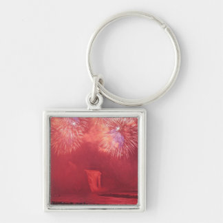 Quebec City, Quebec, Canada. Fireworks at Parc Silver-Colored Square Keychain