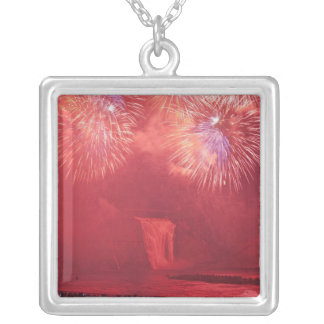 Quebec City, Quebec, Canada. Fireworks at Parc Silver Plated Necklace