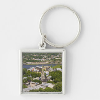 Quebec City, Quebec, Canada. Looking down on the Silver-Colored Square Keychain