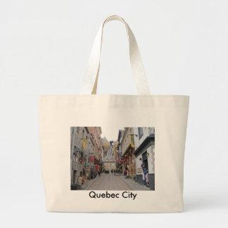 Quebec City Street Canvas Bags