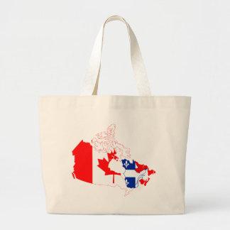 Quebec en la bandera de Canadá, mapa Bolsa Tela Grande