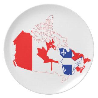 Quebec en la bandera de Canadá, mapa Plato Para Fiesta