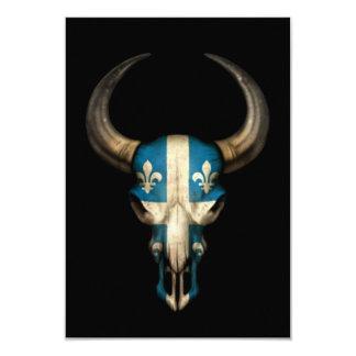 Quebec Flag Bull Skull on Black 3.5x5 Paper Invitation Card