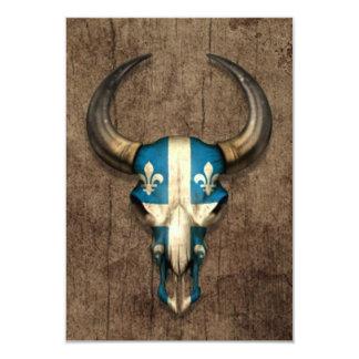 Quebec Flag Bull Skull on Wood Effect 3.5x5 Paper Invitation Card