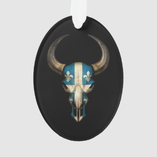 Quebec Flag Bull Skull Ornament