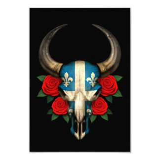 Quebec Flag Bull Skull with Red Roses 3.5x5 Paper Invitation Card