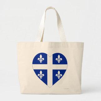Quebec Flag Heart Canvas Bags
