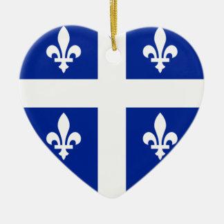 Quebec Flag Heart Ceramic Ornament