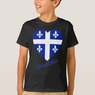 Quebec Flag Heart with Name T-Shirt