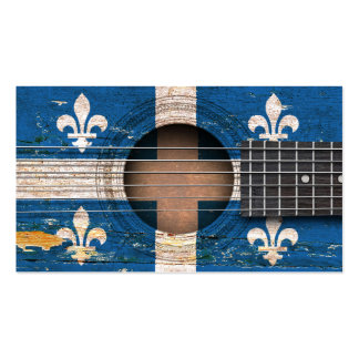 Quebec Flag on Old Acoustic Guitar Double-Sided Standard Business Cards (Pack Of 100)