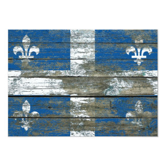 Quebec Flag on Rough Wood Boards Effect 5x7 Paper Invitation Card