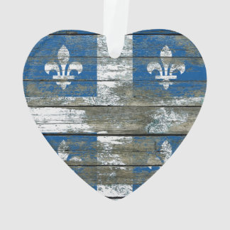 Quebec Flag on Rough Wood Boards Effect Ornament
