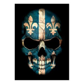 Quebec Flag Skull on Black Business Cards