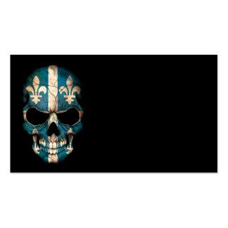 Quebec Flag Skull on Black Business Card