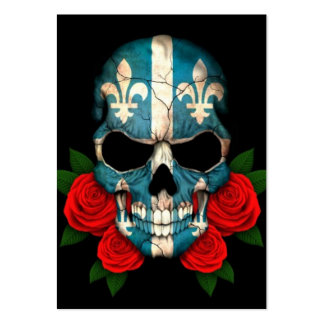 Quebec Flag Skull with Red Roses Business Card