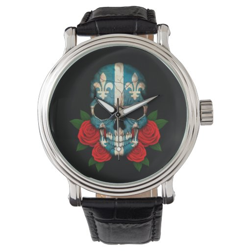 Quebec Flag Skull with Red Roses Watches