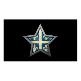 Quebec Flag Star on Black Business Card Template