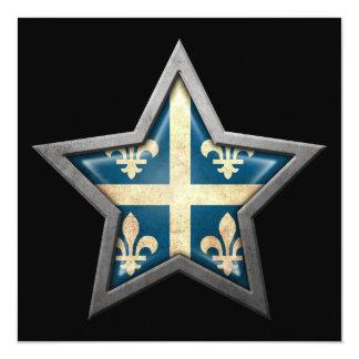 Quebec Flag Star on Black 5.25x5.25 Square Paper Invitation Card