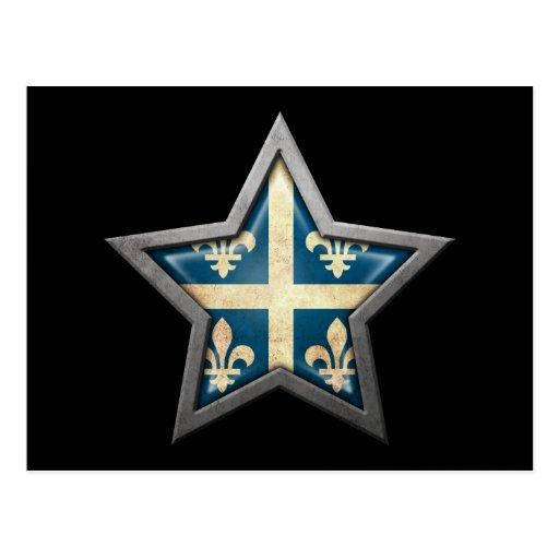 Quebec Flag Star on Black Post Card