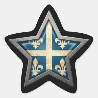 Quebec Flag Star on Black Star Sticker