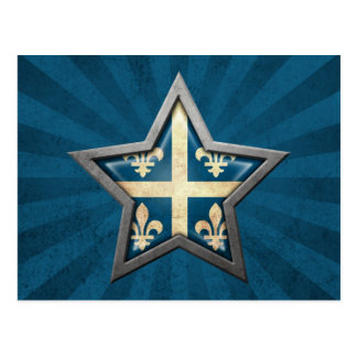 Quebec Flag Star with Rays of Light Postcard