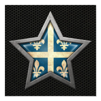 Quebec Flag Star with Steel Mesh Effect 5.25x5.25 Square Paper Invitation Card