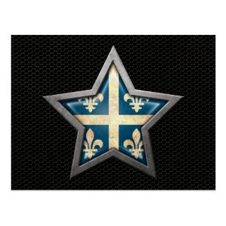 Quebec Flag Star with Steel Mesh Effect Postcard