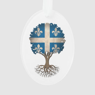 Quebec Flag Tree of Life Customizable Ornament