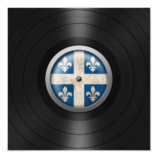 Quebec Flag Vinyl Record Album Graphic 5.25x5.25 Square Paper Invitation Card