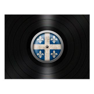 Quebec Flag Vinyl Record Album Graphic Postcard