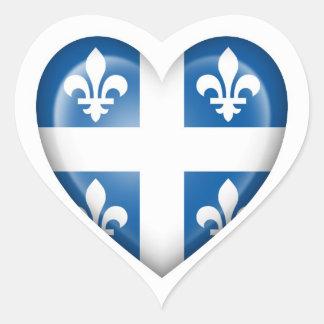 Quebec Heart Flag on White Heart Sticker