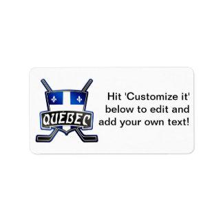 Quebec Hockey Flag Logo Address Label