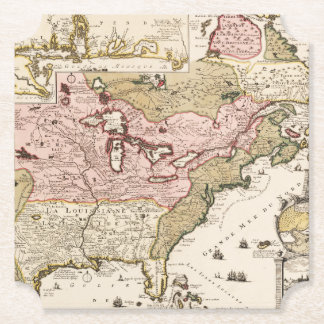 Quebec/Nouvelle-France medieval french map America Paper Coaster