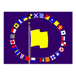 Quebec Request Pratique Nautical Signal Flag Post Card