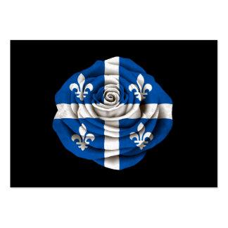 Quebec Rose Flag on Black Business Cards