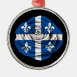 Quebec Rose Flag on Black Christmas Ornaments