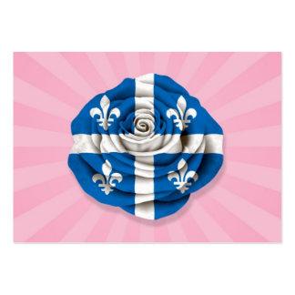 Quebec Rose Flag on Pink Business Card Templates