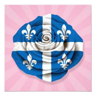 Quebec Rose Flag on Pink 5.25x5.25 Square Paper Invitation Card