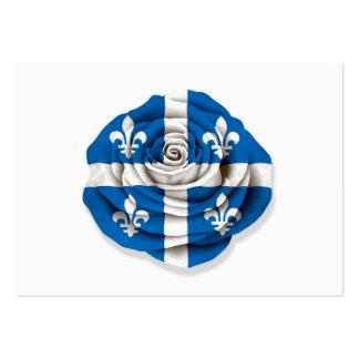 Quebec Rose Flag on White Business Cards