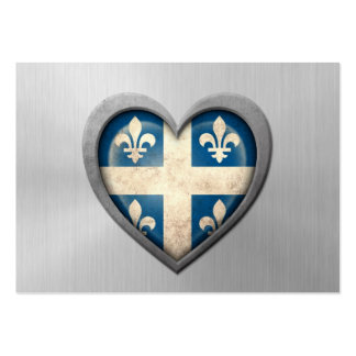 Quebecois Heart Flag Stainless Steel Effect Business Card Template