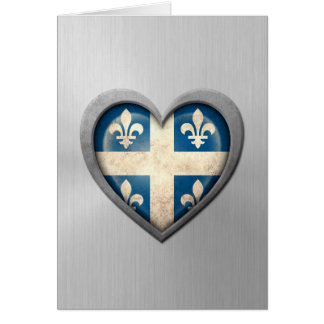 Quebecois Heart Flag Stainless Steel Effect Card