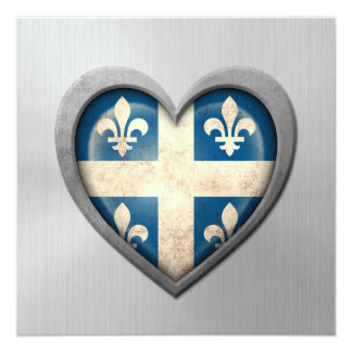 Quebecois Heart Flag Stainless Steel Effect 5.25x5.25 Square Paper Invitation Card