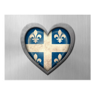 Quebecois Heart Flag Stainless Steel Effect Postcard